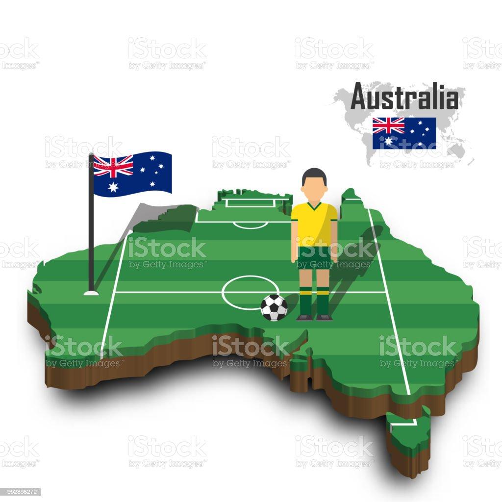 b77c54af704 Australia national soccer team . Football player and flag on 3d design  country map - Illustration .