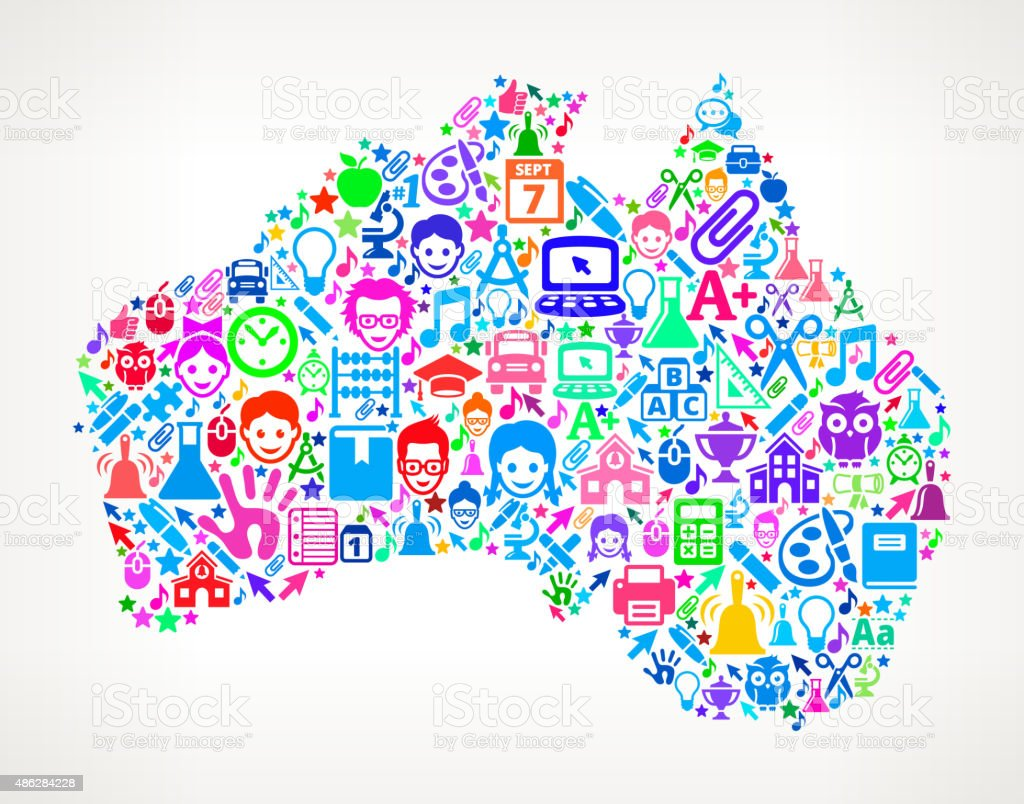 Australia On School and Education Icon Pattern Australia On School and Education Icon Pattern royalty free vector school and education interface icon Pattern. The image features vector icons. Icons include school, school bus, education, k-12, teacher, laptop, textbook and other school and education iconography. Image works for educational, school and learning ideas. Icon download includes vector art and jpg file. 2015 stock vector