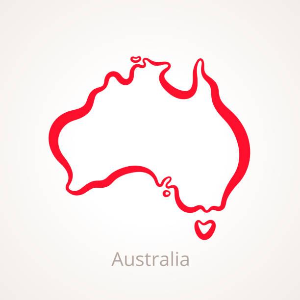 ilustraciones, imágenes clip art, dibujos animados e iconos de stock de australia - mapa de contorno - australia