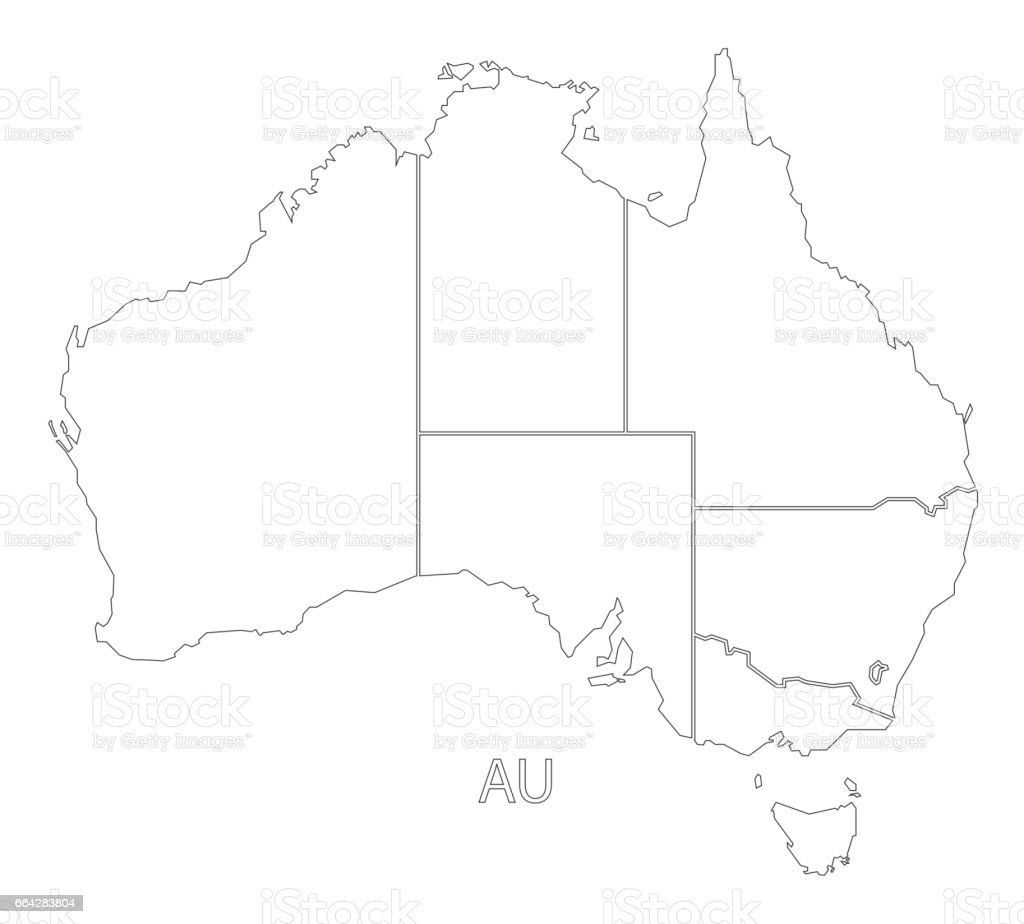 Australia Outline Silhouette Map Illustration With States ...