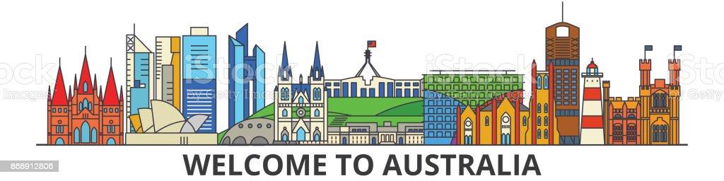 Australia outline skyline, australian flat thin line icons, landmarks, illustrations. Australia cityscape, australian travel city vector banner. Urban silhouette vector art illustration