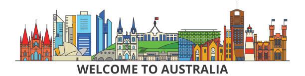 bildbanksillustrationer, clip art samt tecknat material och ikoner med australien disposition skyline, australiska platt tunn linje ikoner, sevärdheter, illustrationer. australien stadsbild, australiska travel city vektor banner. urban siluett - canberra skyline