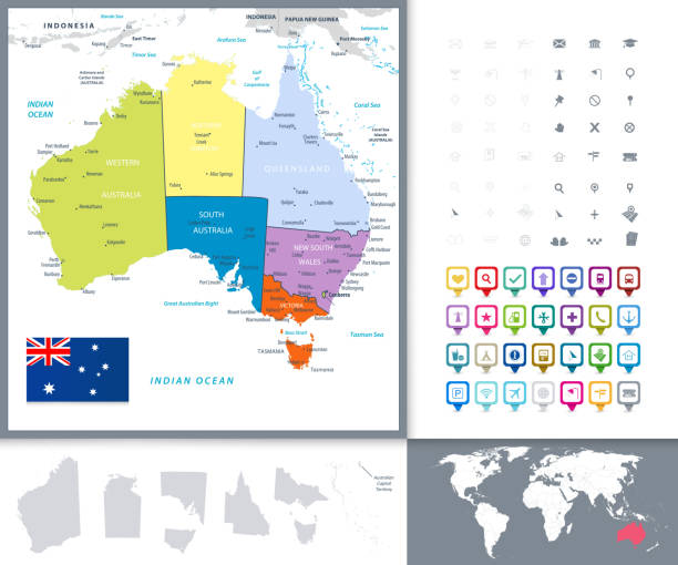 Australia Political Map and Map Pointers vector art illustration