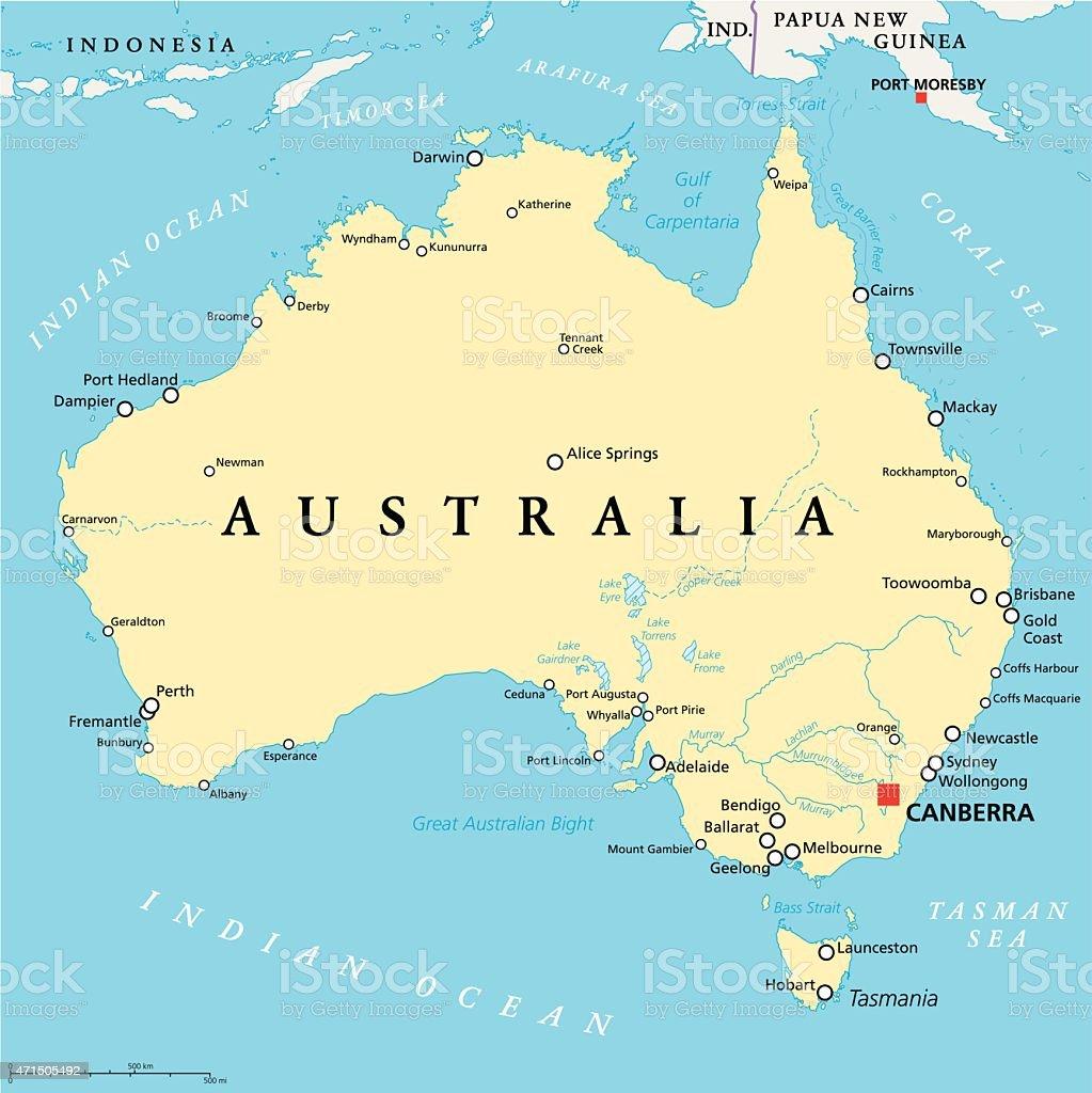 Australia Political Map vector art illustration
