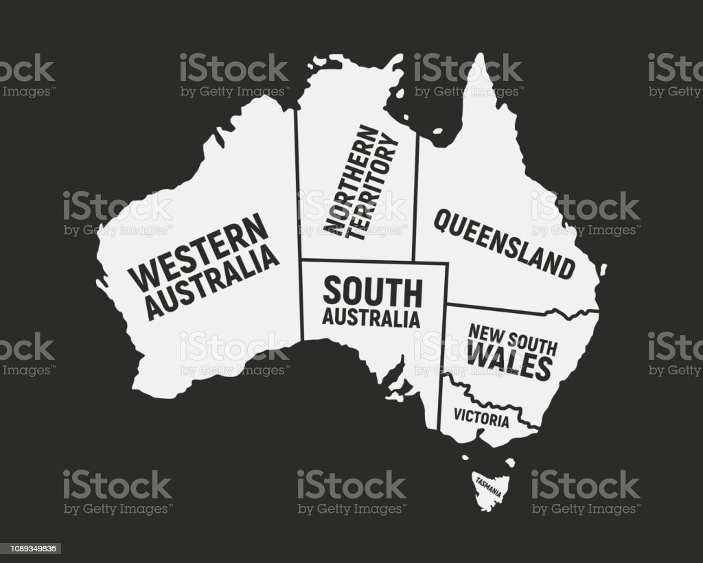 Map Of States Of Australia.Australia Poster Map With States Names Australian Background Map Of