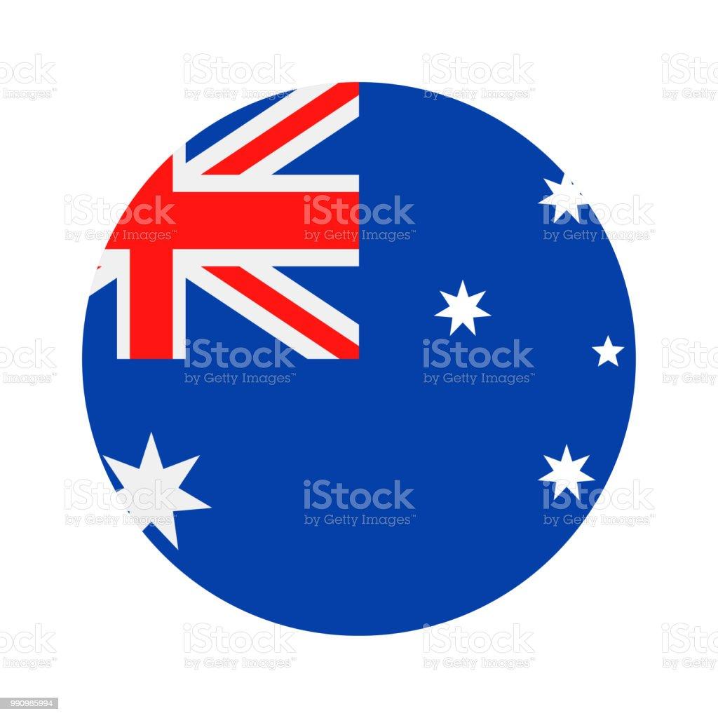 オーストラリア - フラグ ベクトル フラット アイコン ラウンド ベクターアートイラスト
