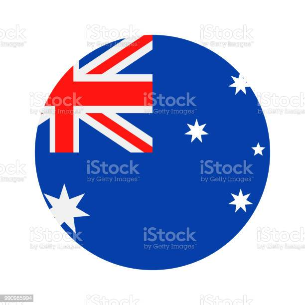 Australia Round Flag Vector Flat Icon Stock Illustration - Download Image Now