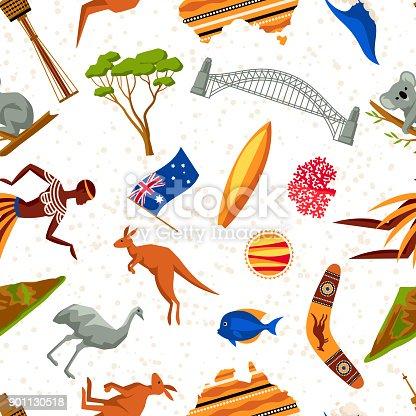 Australia Seamless Pattern Australian Traditional Symbols And