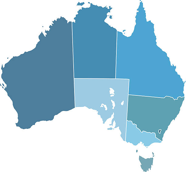 Australia silhouette map vector art illustration