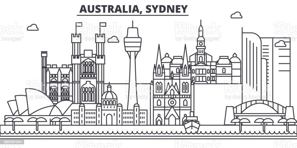 Australia, Sydney architecture line skyline illustration. Linear vector cityscape with famous landmarks, city sights, design icons. Landscape wtih editable strokes vector art illustration
