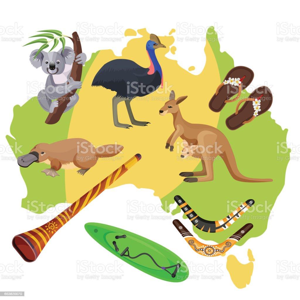 Australia Symbols On Map Koala Kangaroo Surfboard Boomerang - Australia map kangaroo