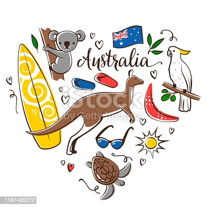 Vector Australia symbols arranged in a square shape isolated on a white background.