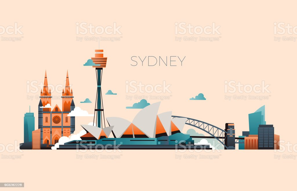 Australia travel landmark vector landscape with Sydney opera and famous buildings royalty-free australia travel landmark vector landscape with sydney opera and famous buildings stock illustration - download image now