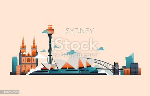 Australia travel landmark vector landscape with Sydney opera and famous buildings. Sydney city architecture, landmark and panorama building illustration