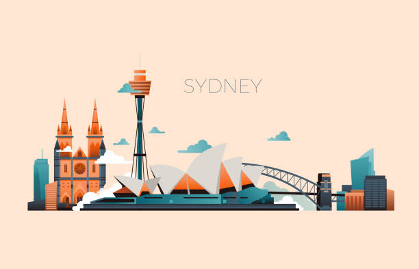 Australia travel landmark vector landscape with Sydney opera and famous buildings vector art illustration