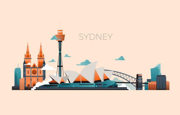 bildbanksillustrationer, clip art samt tecknat material och ikoner med australien resor landmark vektor landskap med sydney opera och berömda byggnader - australia