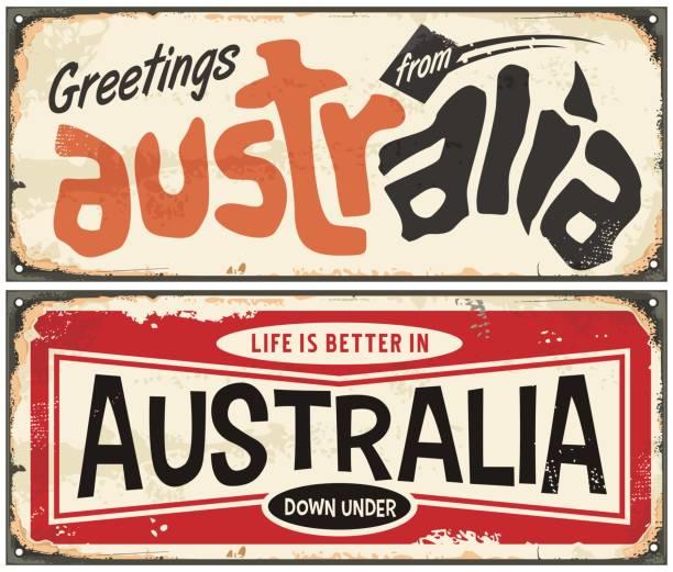 ilustrações de stock, clip art, desenhos animados e ícones de australia travel souvenirs signs set - viagens anos 70