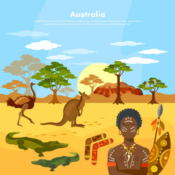 Australia travel to Australia people and animals vector art illustration