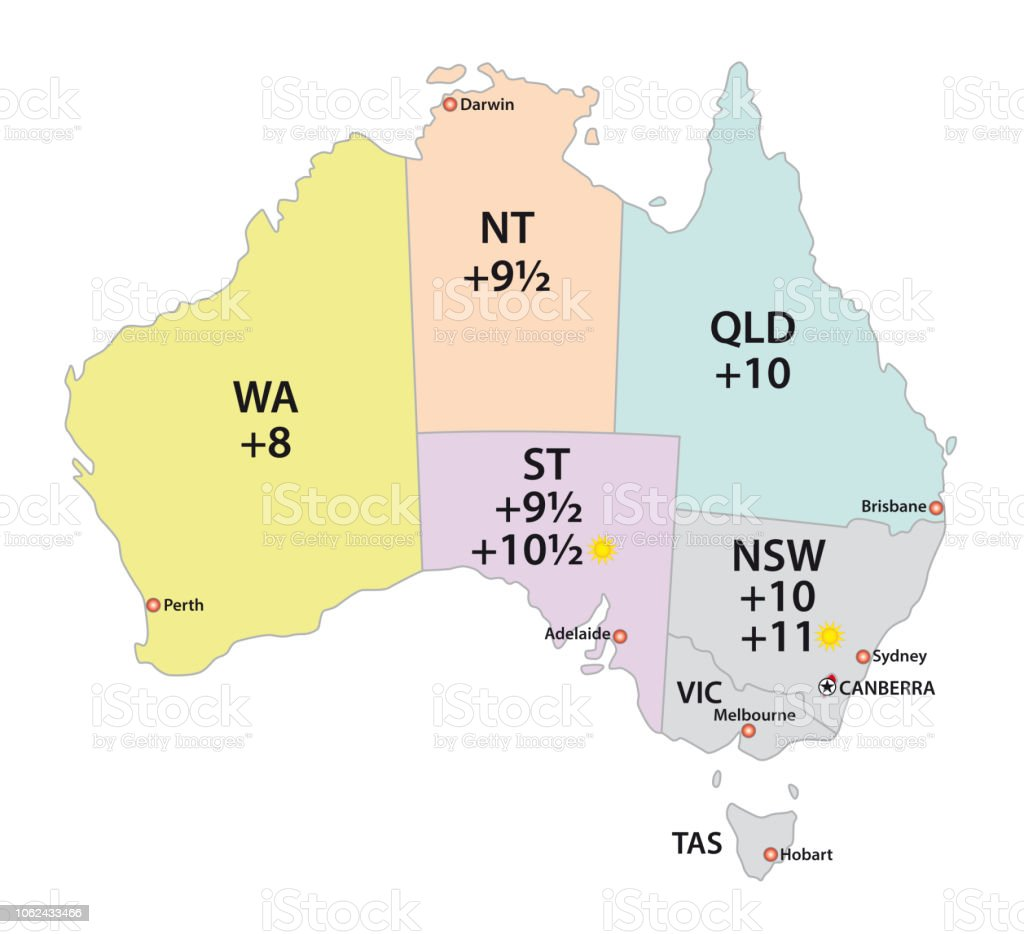 Australia Map Time Zones.Australia Uses Three Main Time Zones Map Stock Illustration