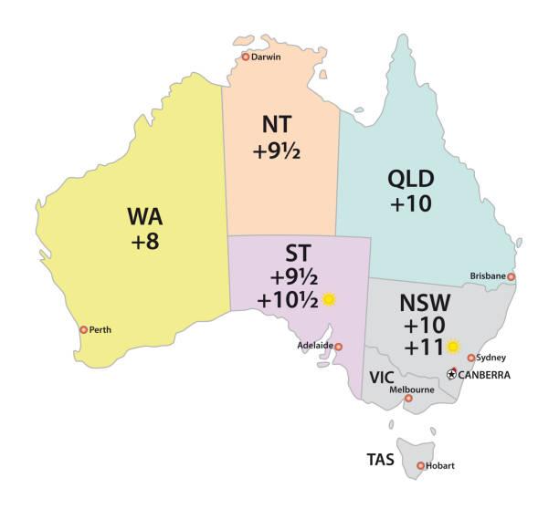 Australia uses three main time zones map vector art illustration