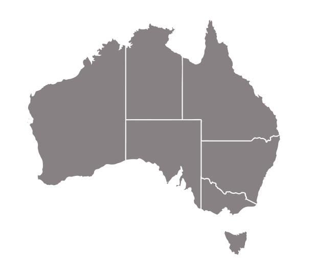 ilustraciones, imágenes clip art, dibujos animados e iconos de stock de vector de mapa de australia - australia