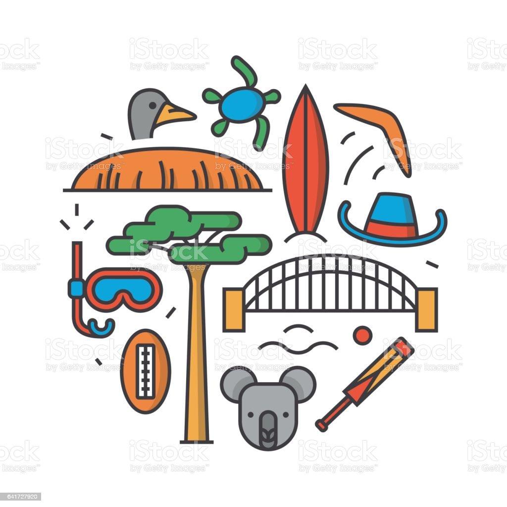 Australie Vector Illustration De Contour Patron Fond Blanc Boomerang Chapeau Serf Pont Cricket Koala Arbre Baobab Sport Montagne Uluru Autruche Tortue Vecteurs Libres De Droits Et Plus D Images Vectorielles De Abstrait