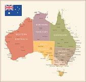 Australia - vintage map and flag - illustration