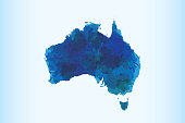 Australia watercolor map vector illustration in blue color on light background using paint brush on page