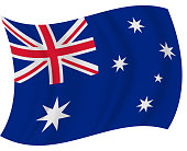 Australia waving flag vector illustration