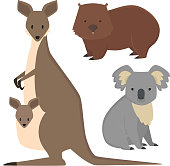 Australia wild animals cartoon popular nature characters flat style mammal collection vector illustration