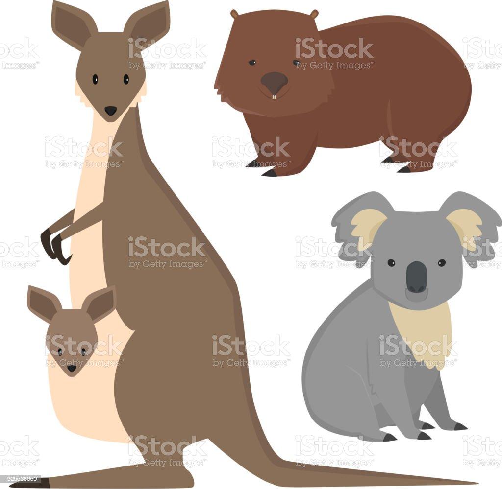 Australia wild animals cartoon popular nature characters flat style mammal collection vector illustration vector art illustration