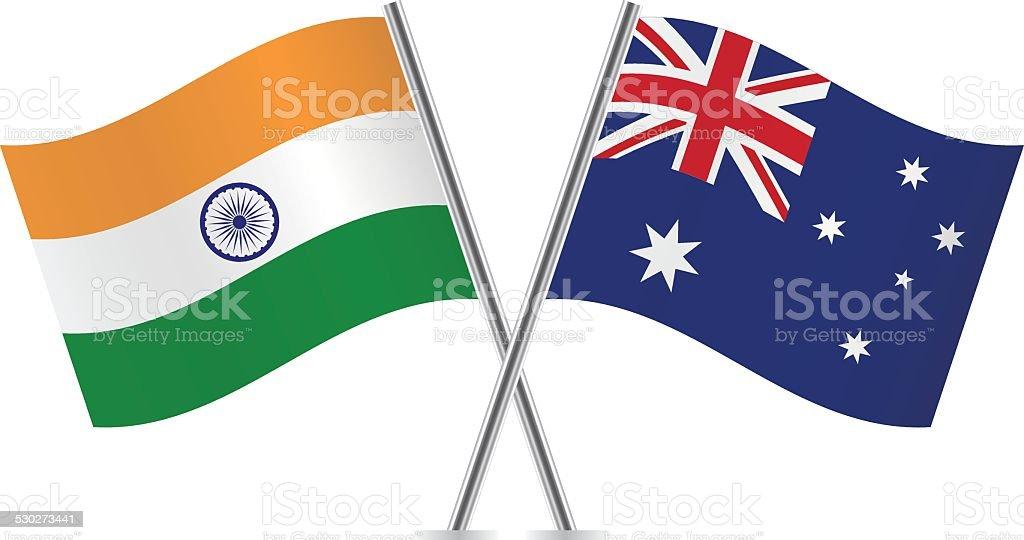 Australian and Indian flags. Vector. vector art illustration