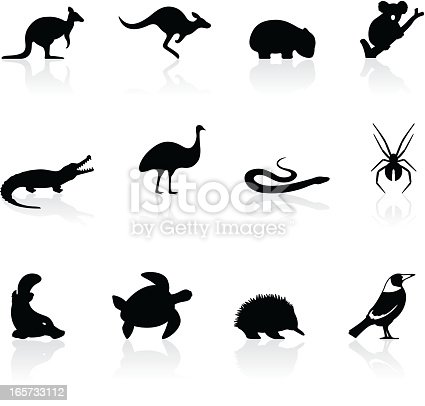 Stylized animal icons from Australia. Includes a transparent PNG.