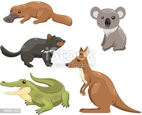 Set of australian animals.