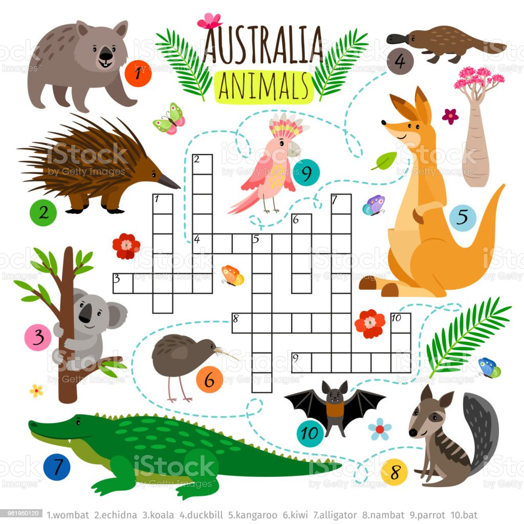 Australian Animals Crossword Kids Words Brainteaser Word Search Puzzle Vector Game Royalty Free