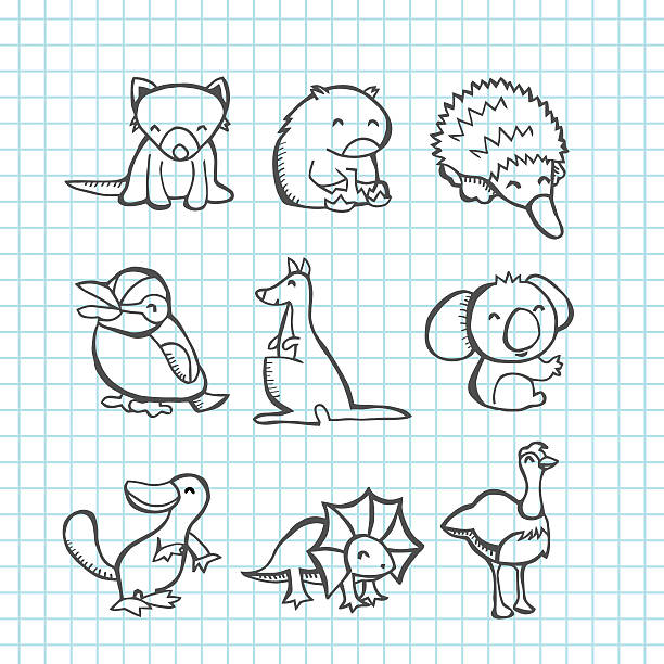 Line Drawings Of Australian Animals : Royalty free tasmanian devil clip art vector images