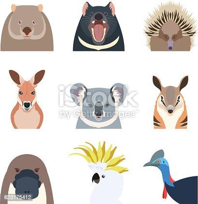 Vector image of the Australian animals flat icons