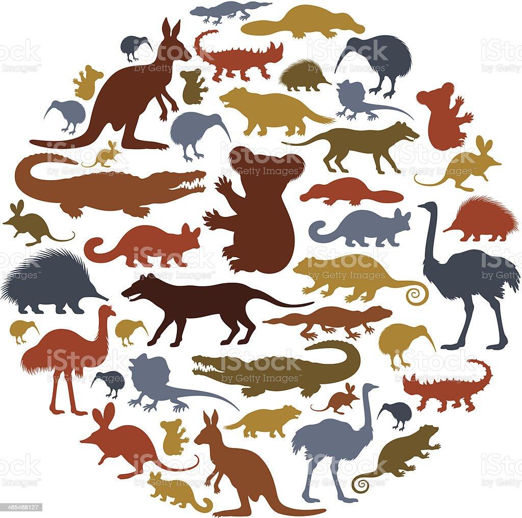 Australian Animals Icon Collage vector art illustration