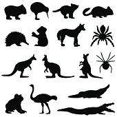 Australian animals silhouette set