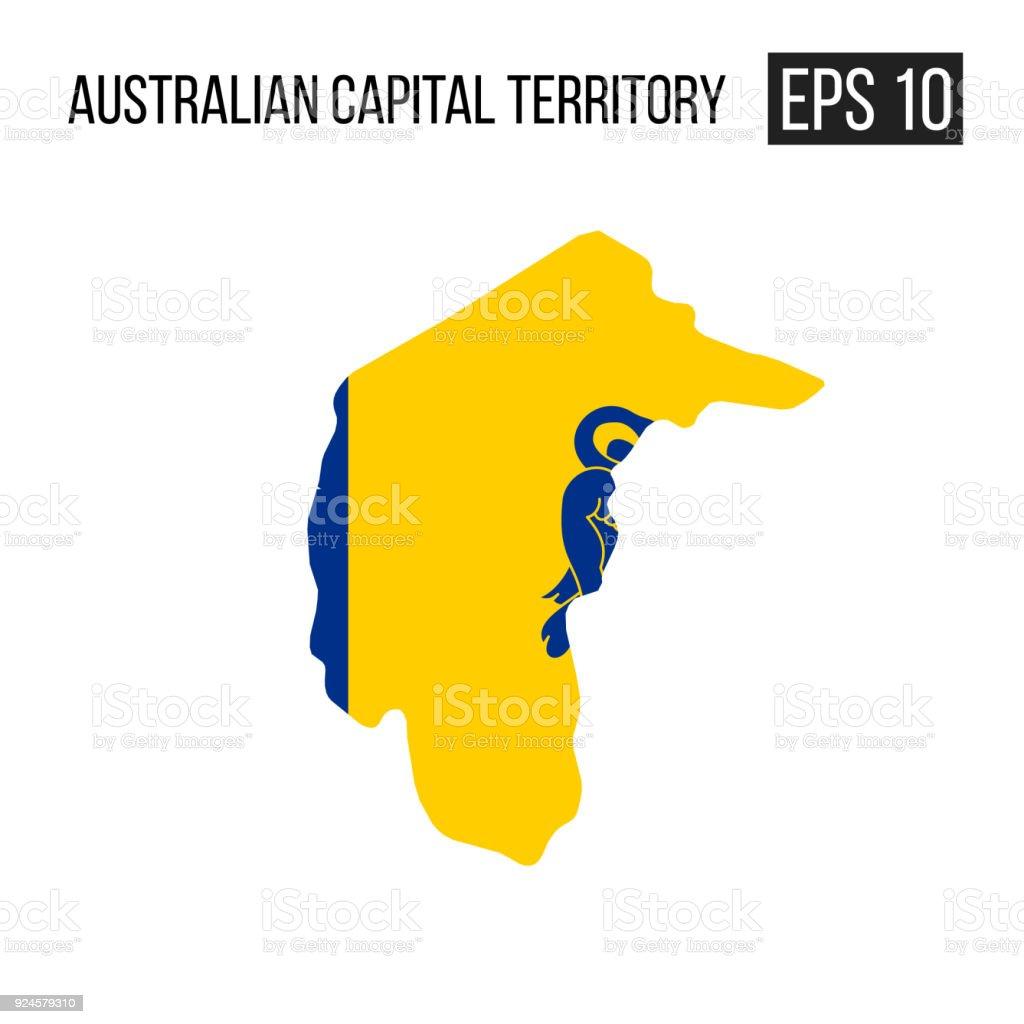 australian capital territory map border with flag vector eps10 stock