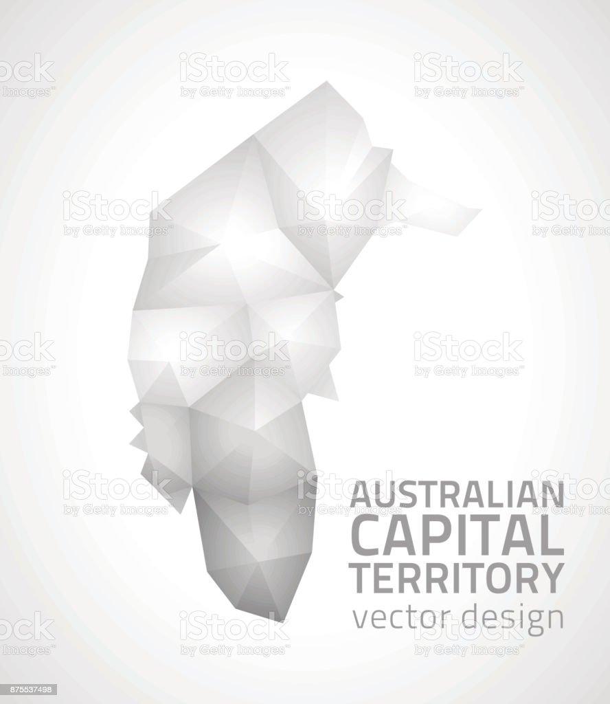 Australia Map Grey.Australian Capital Territory Polygonal Triangle Grey And Silver