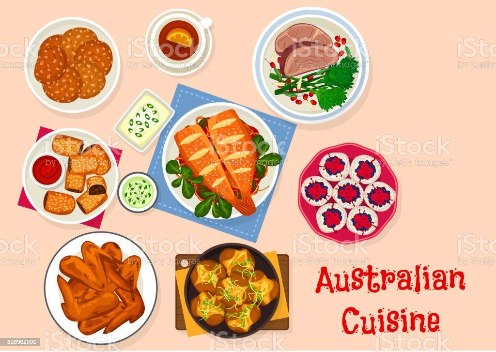 Australische Küche Traditionelle Gerichte Icondesign Stock Vektor ...
