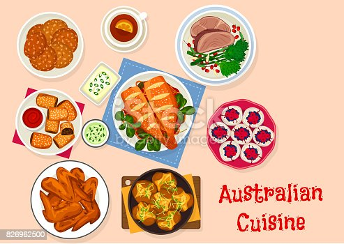 Australian cuisine traditional food icon design stock for Conception cuisine snack