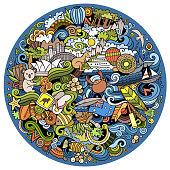 Australia doodles elements and symbols background. Vector hand drawn round illustration