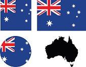 Australian flag and map
