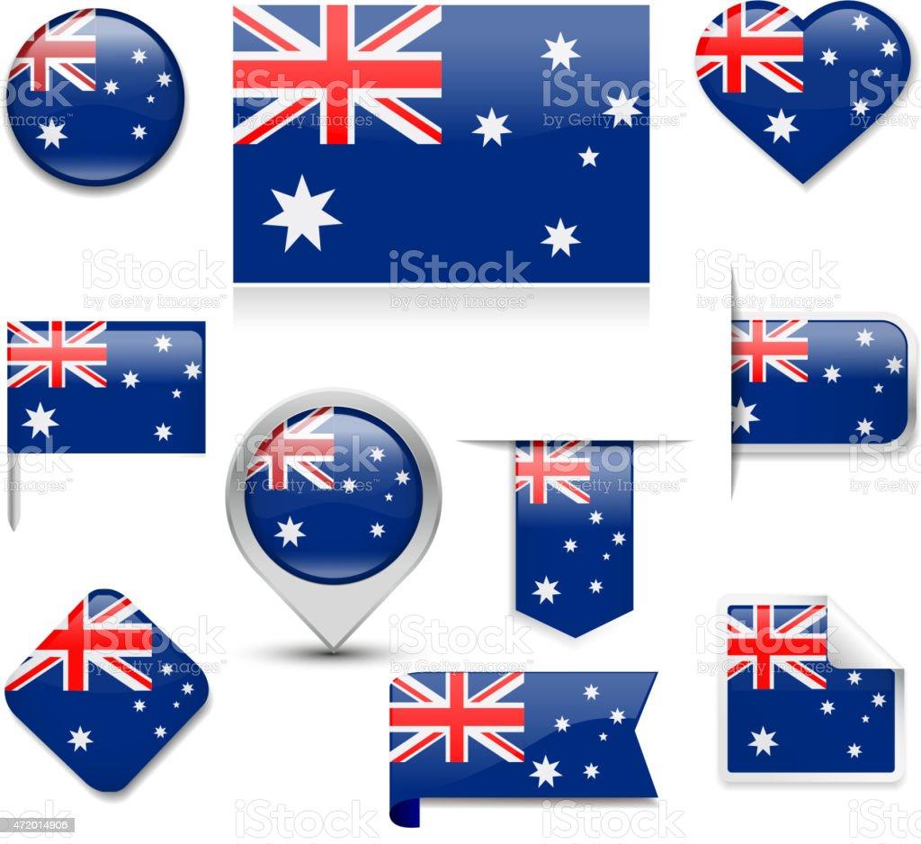 Australian Flag Collection vector art illustration
