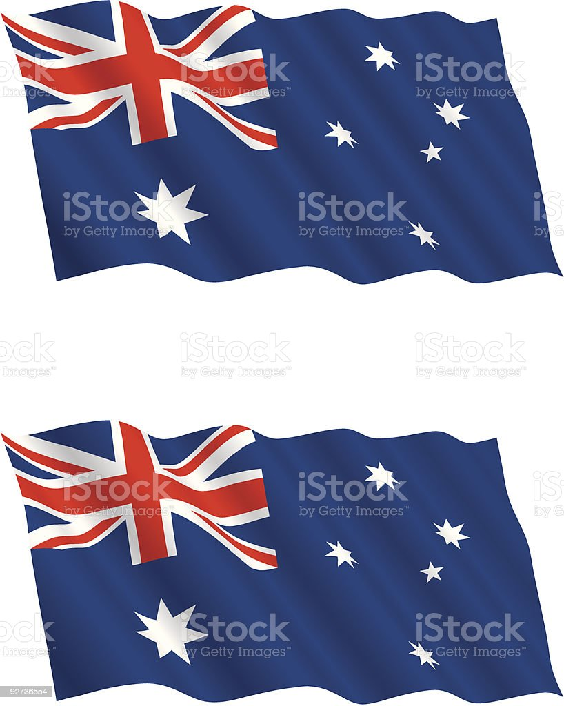 Australian Flag Flying in the Wind These images of the Australian flag would make an excellent patriotic graphic or backdrop. There are 2 different styles of flags. The top image being a matte finish and the other satin.  Australia stock vector