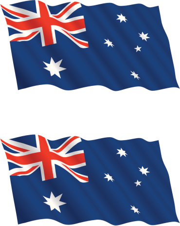 Australian Flag Flying In The Wind Stock Illustration - Download Image Now