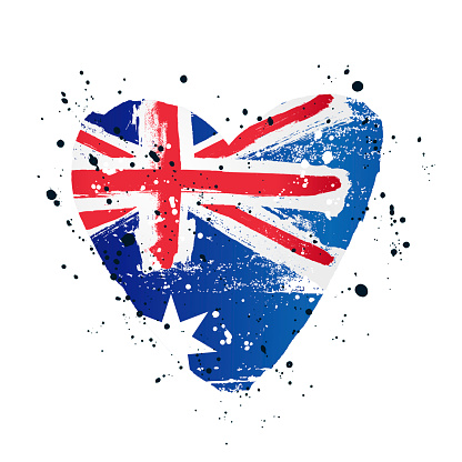 Australian flag in the form of a big heart. Vector illustration
