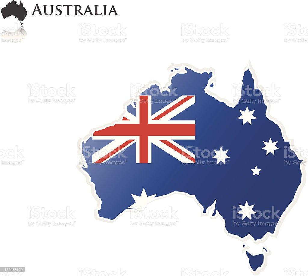 オーストラリア国旗-マップ ベクターアートイラスト